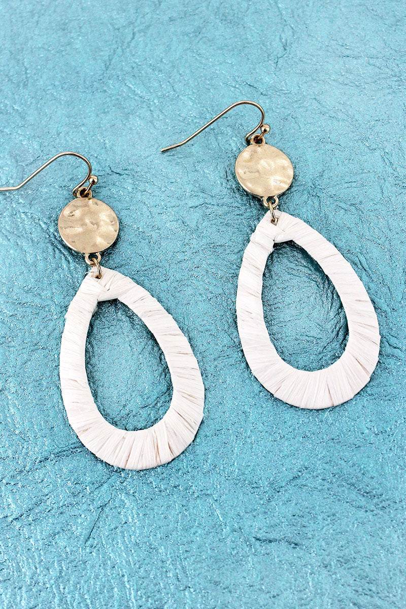 Crave Goldtone Disk and Ivory Raffia Teardrop Earrings