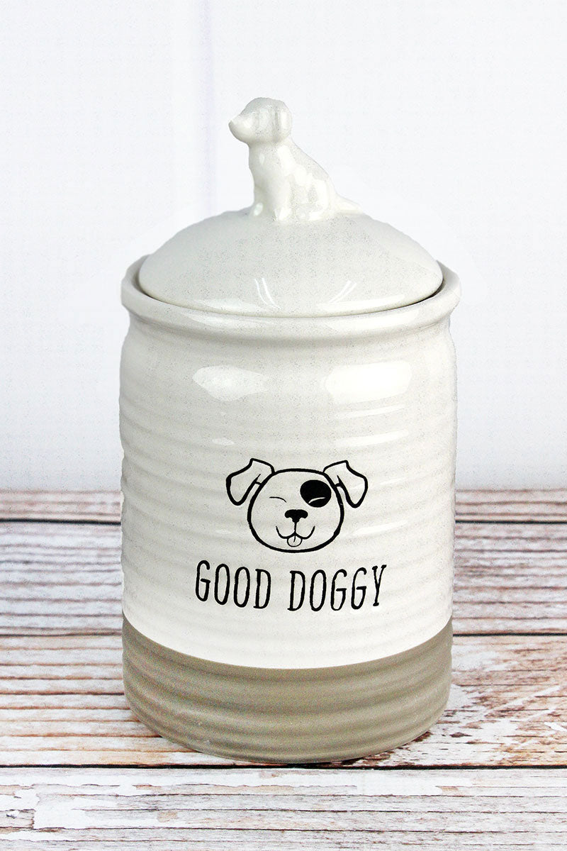 9 x 4.5 Ceramic 'Good Doggy' Dog Treat Jar