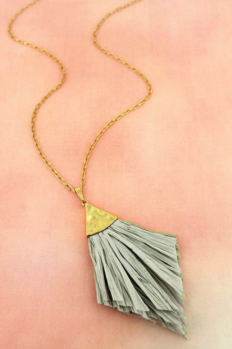 Crave Goldtone and Gray Raffia Pendant Necklace