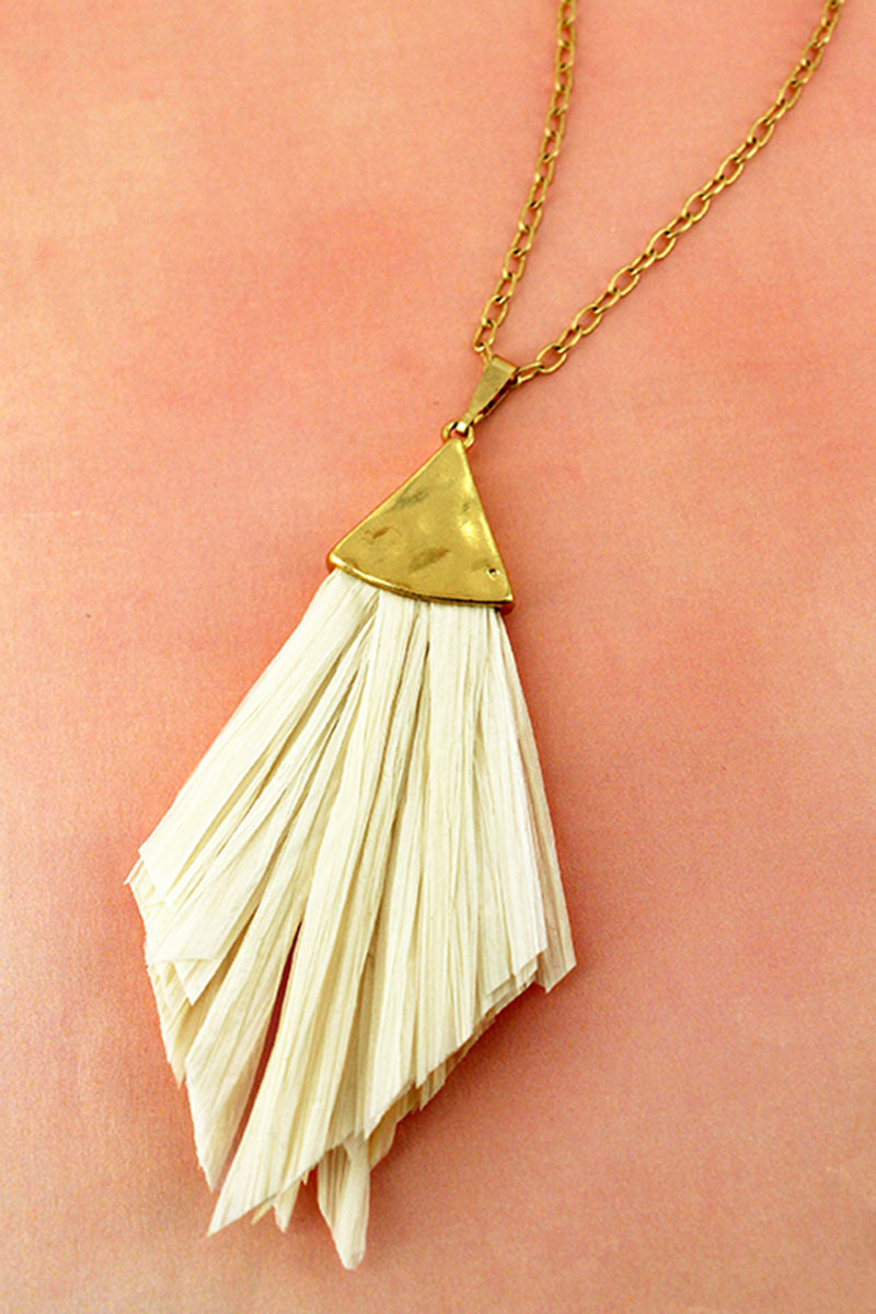 Crave Goldtone and Ivory Raffia Pendant Necklace