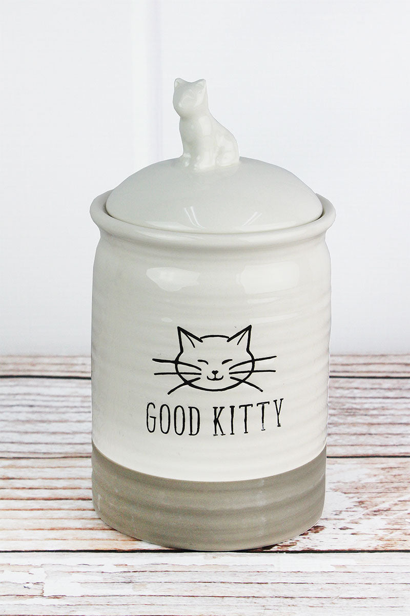 9 x 4.5 Ceramic 'Good Kitty' Cat Treat Jar