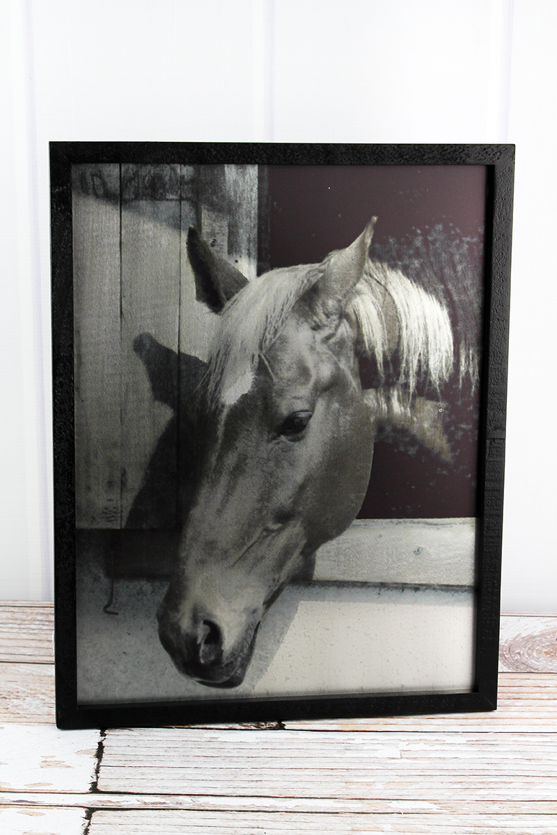 16.5 x 13 Horse in Stable Wood Framed Tin Wall Art