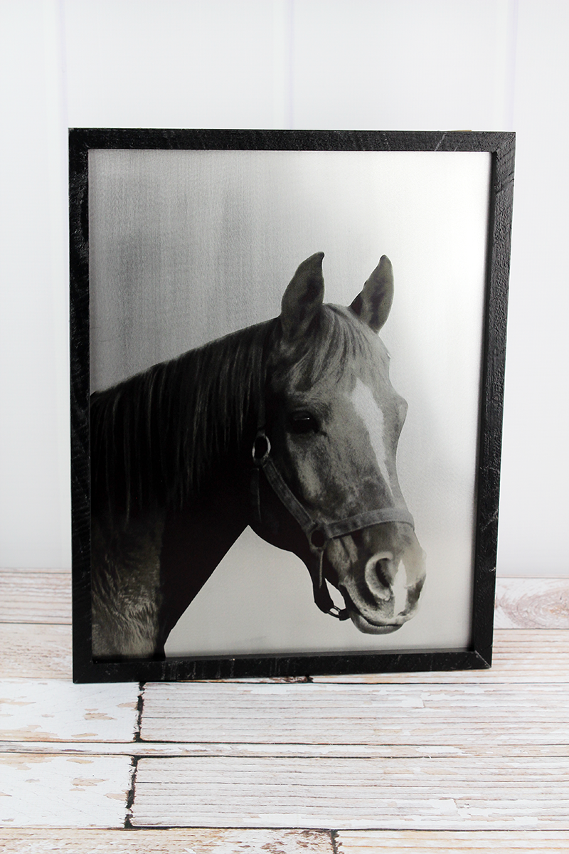 16.5 x 13 Horse Wood Framed Tin Wall Art