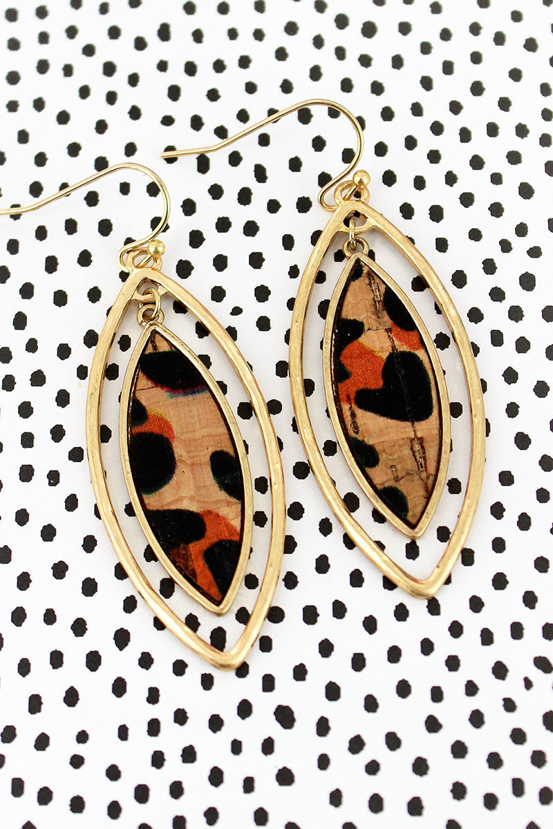 Crave Goldtone and Leopard Cork Double Marquise Earrings