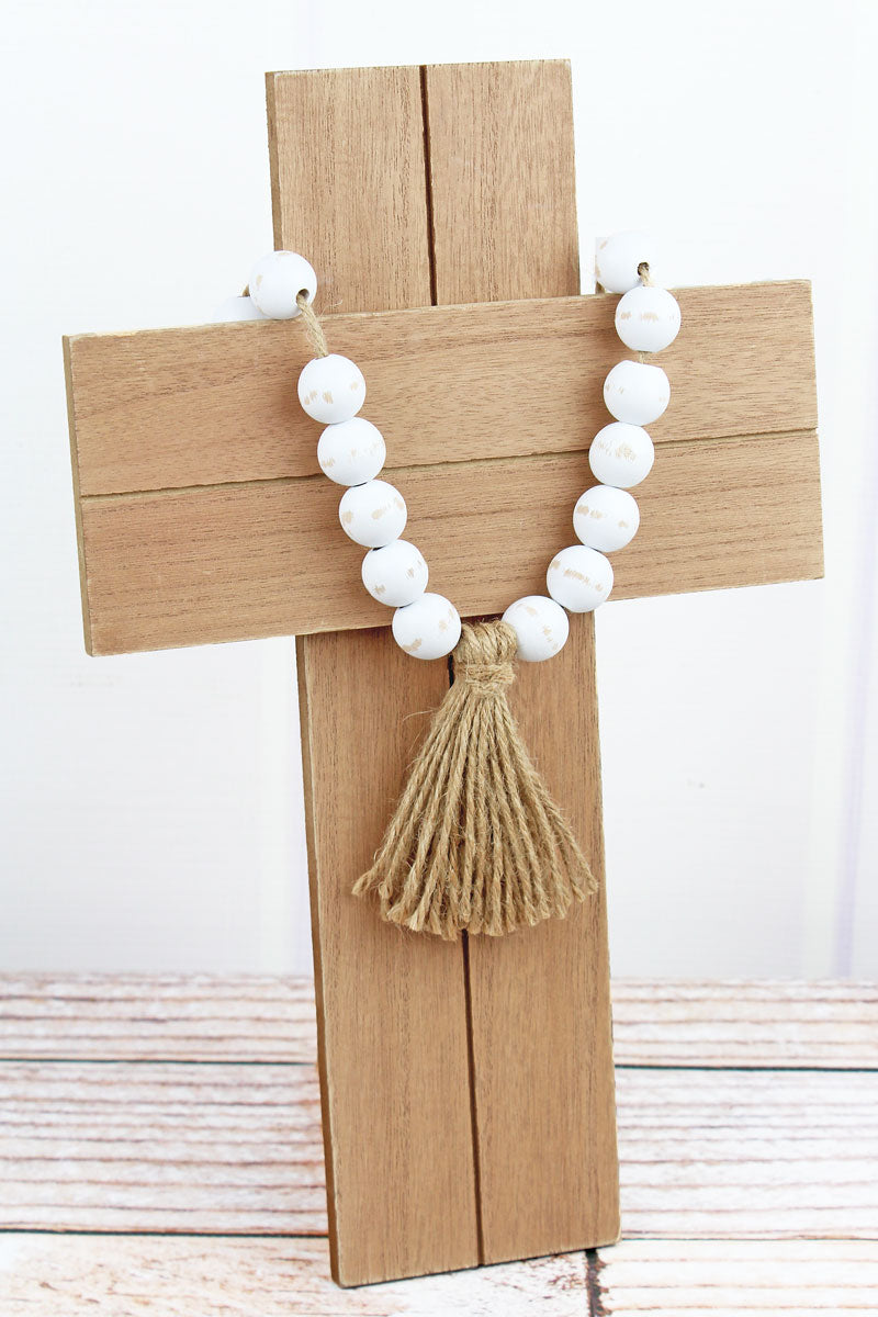 14 x 8.75 Wood Beaded Tassel Cross Wall Decor