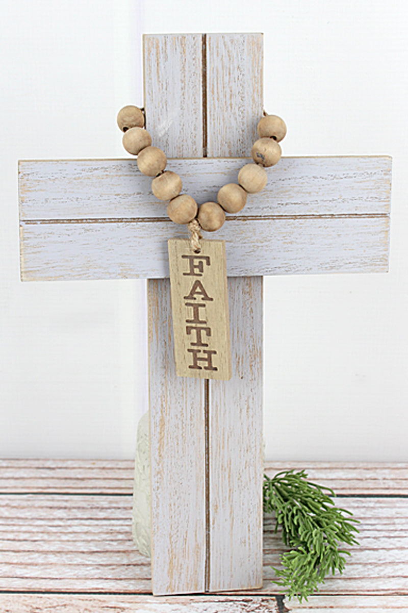12 x 7.5  'Faith' Wood Beaded Wall Cross