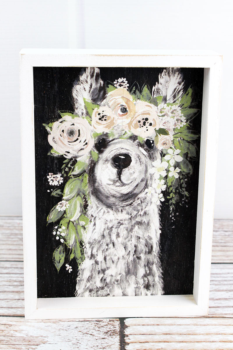 8 x 5.75 Llama with Floral Crown Wood Framed Art