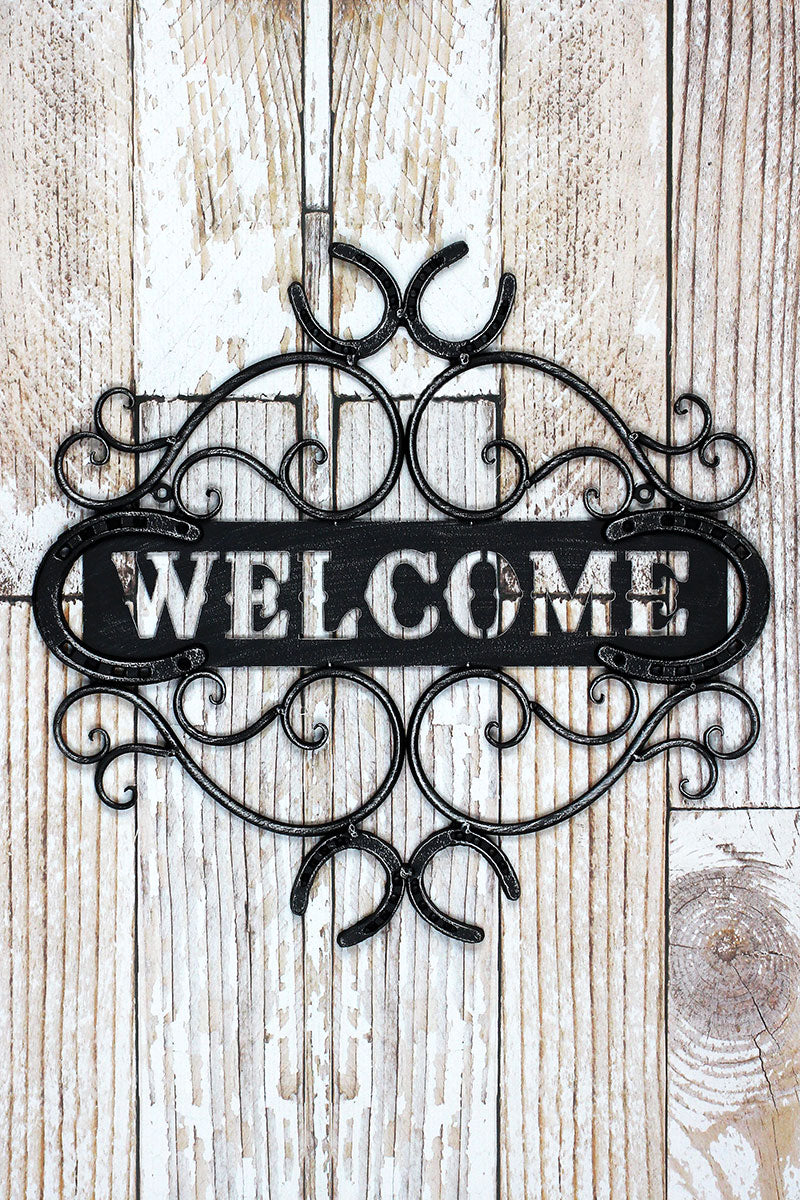 18 x 18.75 'Welcome' Wrought Iron Horseshoe Wall Sign