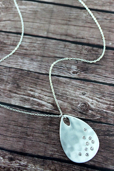Crave Layered Satin Silvertone and Crystal Teardrop Necklace