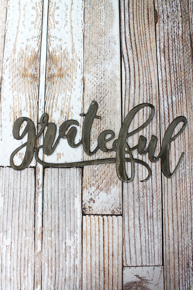 9 x 19 'Grateful' Script Wall Art