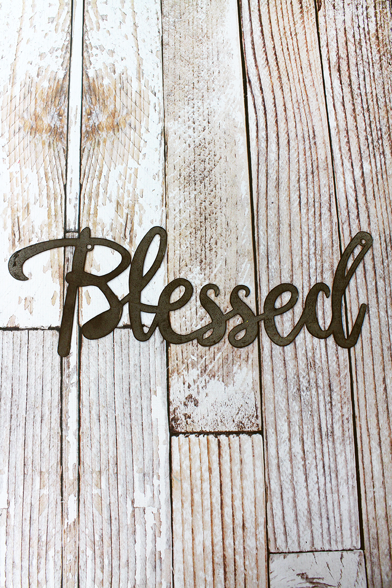 7 x 18 'Blessed' Script Wall Art