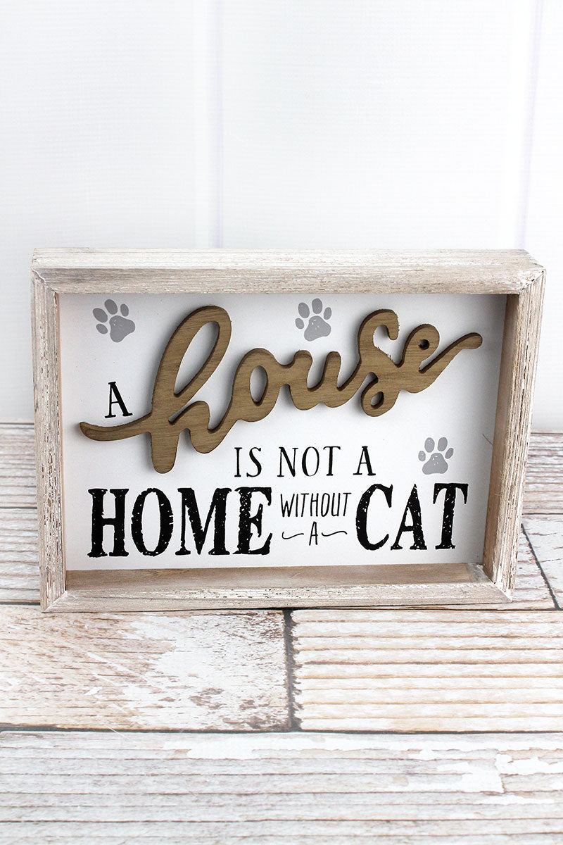 7 x 9.5 'Not A Home Without A Cat' Wood Framed Sign