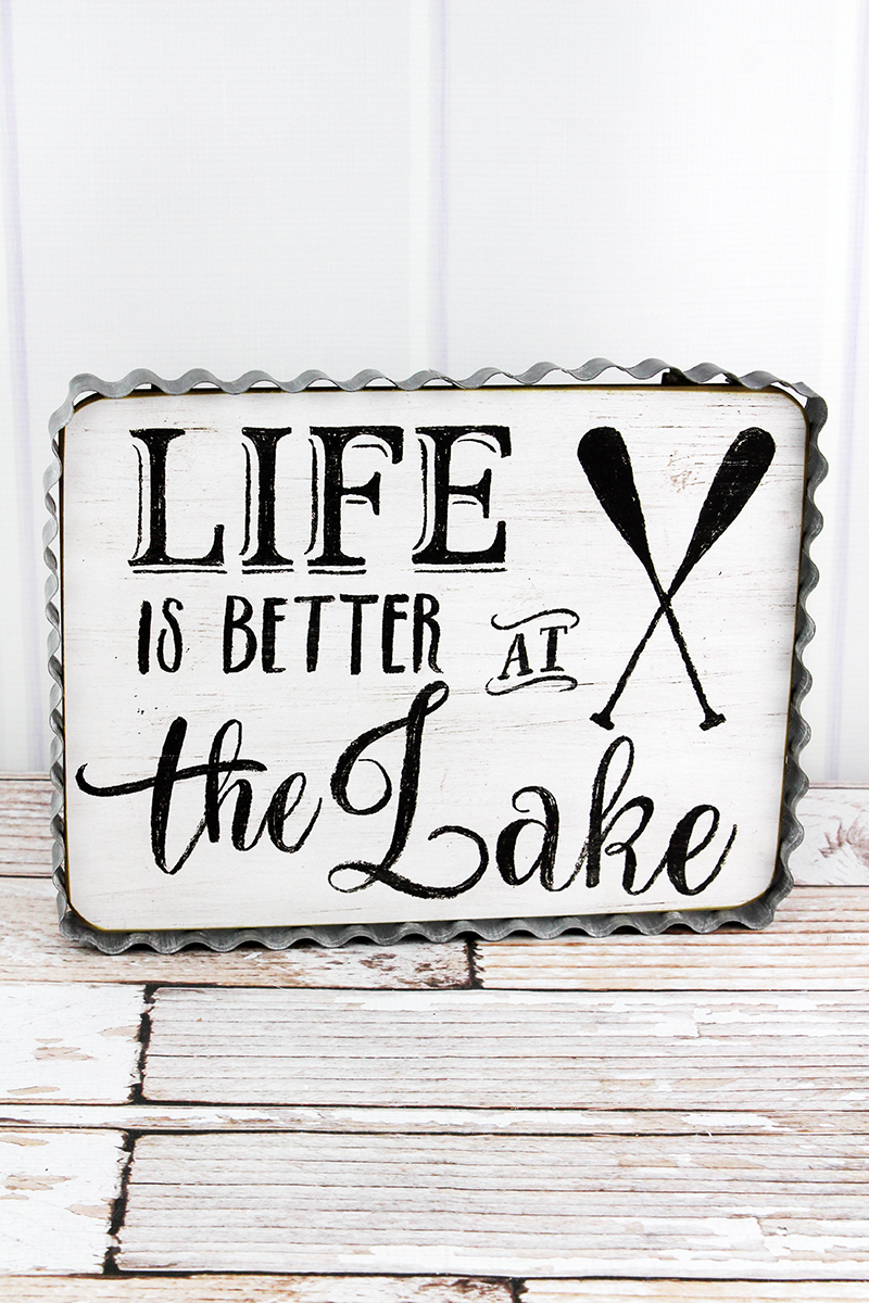 9.5 x 12 'Life Is Better At The Lake' Corrugated Tin Framed Wood Wall Sign