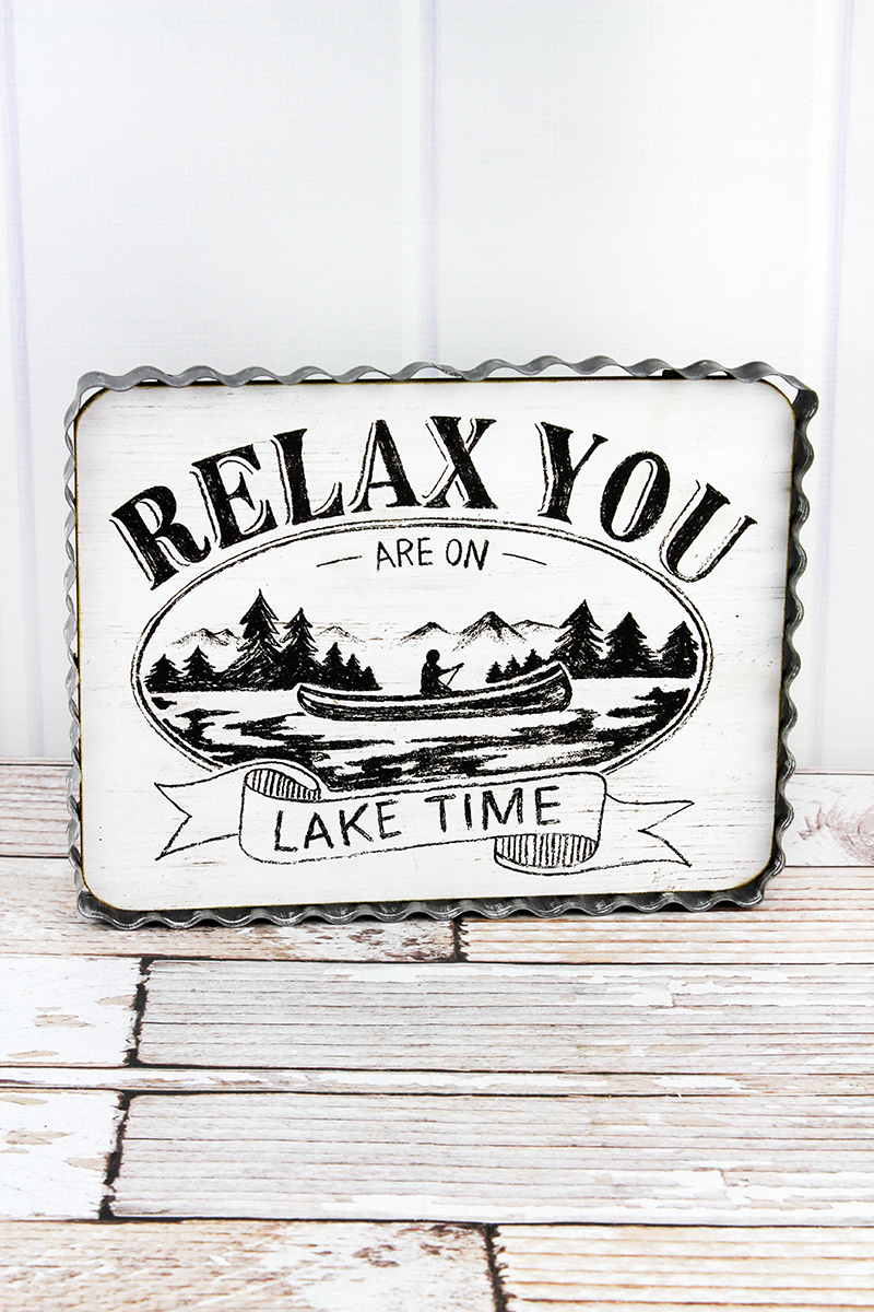 9.5 x 12 'Lake Time' Corrugated Tin Framed Wood Wall Sign