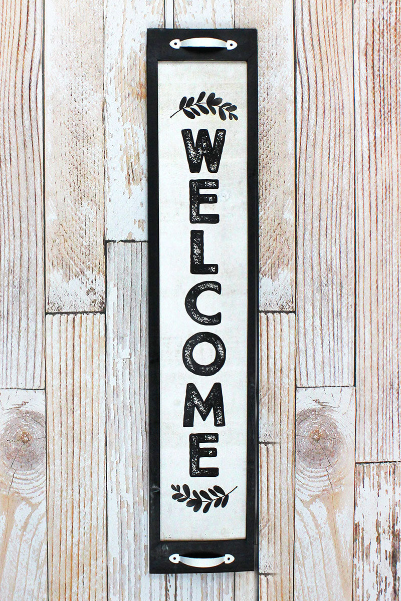 39 x 8 'Welcome' Wood with Metal Handles Framed Wall Sign