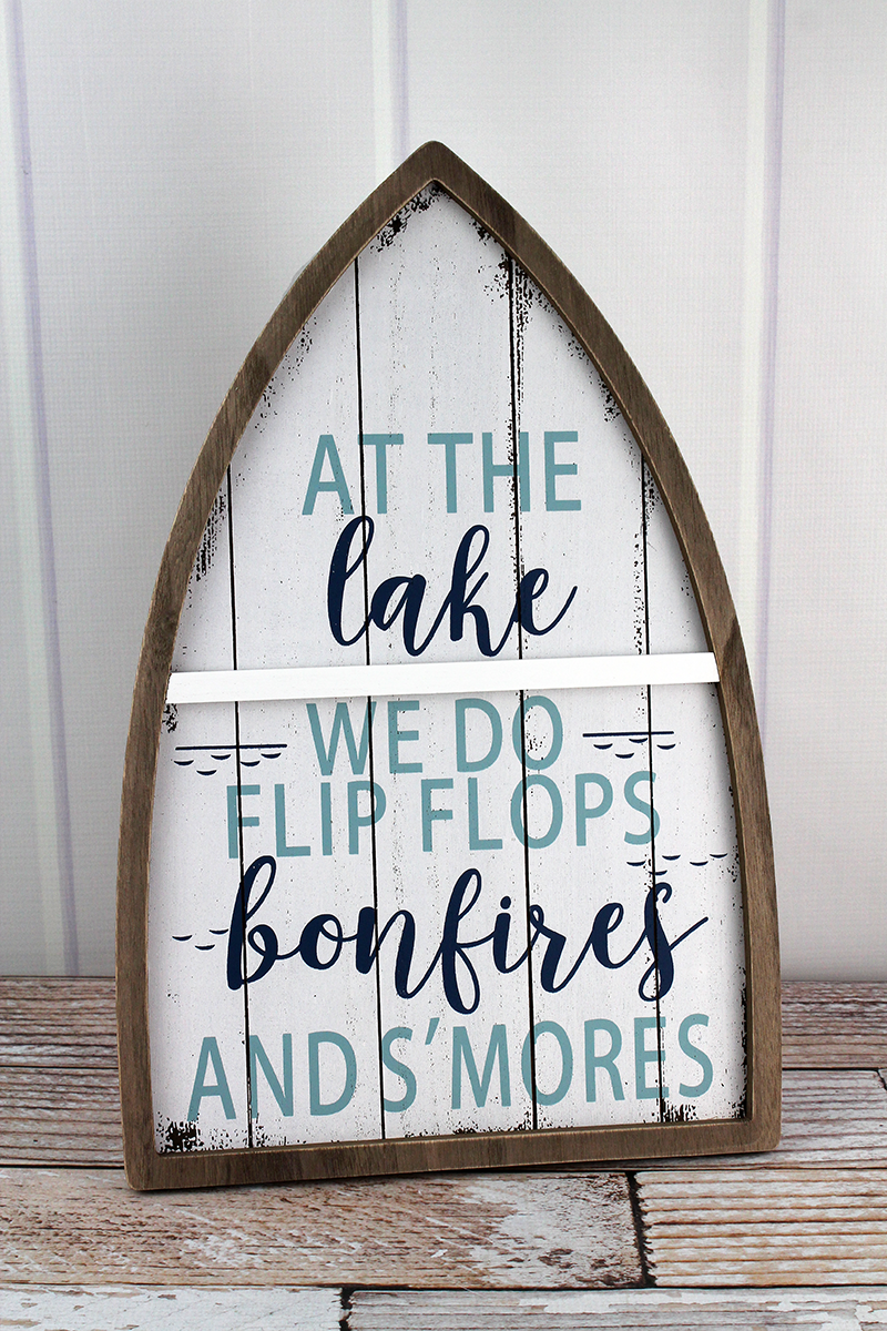 18.75 x 12.25 'Flip Flops, Bonfires, And S'mores' Wood Boat Sign