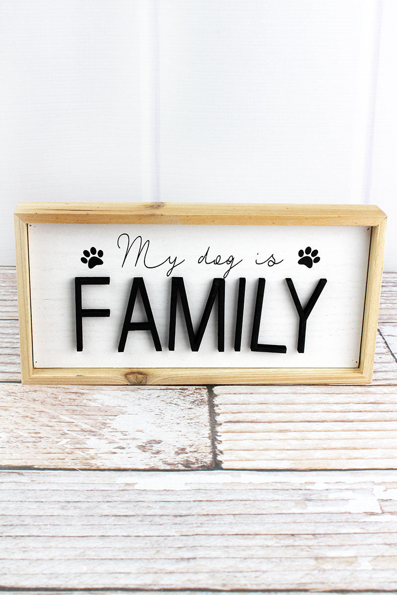 4.75 x 9.5 'Family' Wood Framed Dog Sign