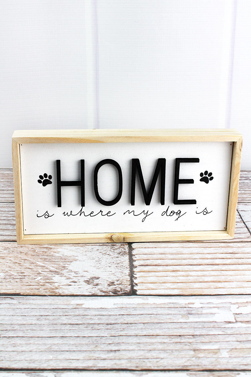 4.75 x 9.5 'Home' Wood Framed Dog Sign