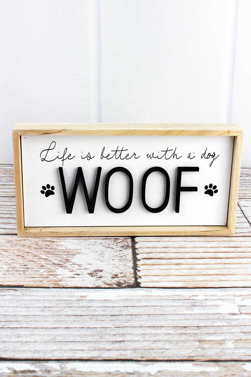4.75 x 9.5 'Woof' Wood Framed Dog Sign