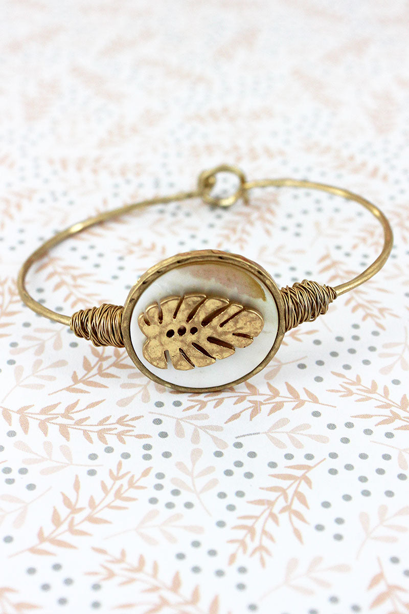 Crave Goldtone and Mother of Pearl Palm Leaf Disk Bangle