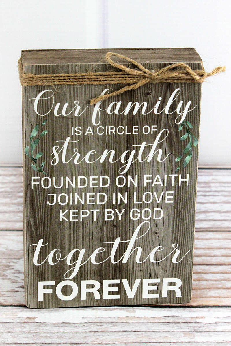 6 x 4 'Our Family' Twine Accented Wood Box Sign