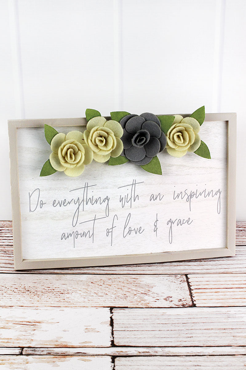 10.75 x 15.75 'Love & Grace' with Felt Flowers Framed Wall Sign