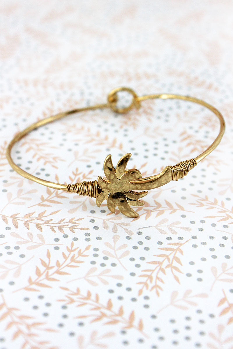 Crave Worn Goldtone Palm Tree Bangle