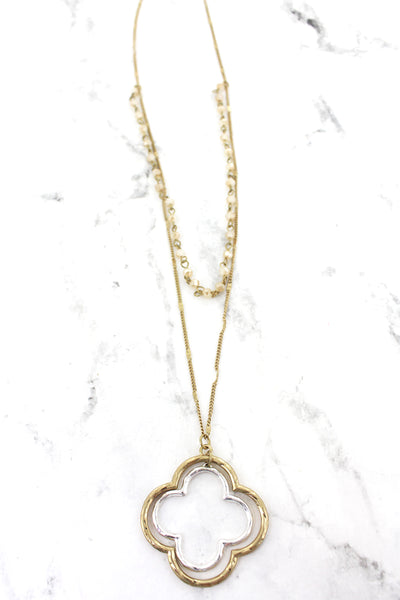 SALE! Crave Layered Champagne Beaded Two-Tone Quatrefoil Necklace