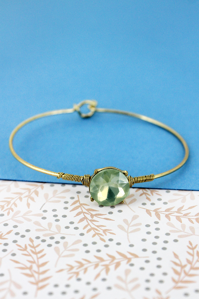 SALE! Crave Frosted Gray Gemstone Goldtone Bangle