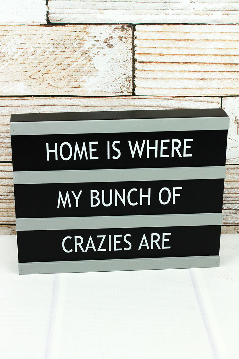 9.25 x 11.75 'Bunch Of Crazies' Letter Board Style Wood Box Sign