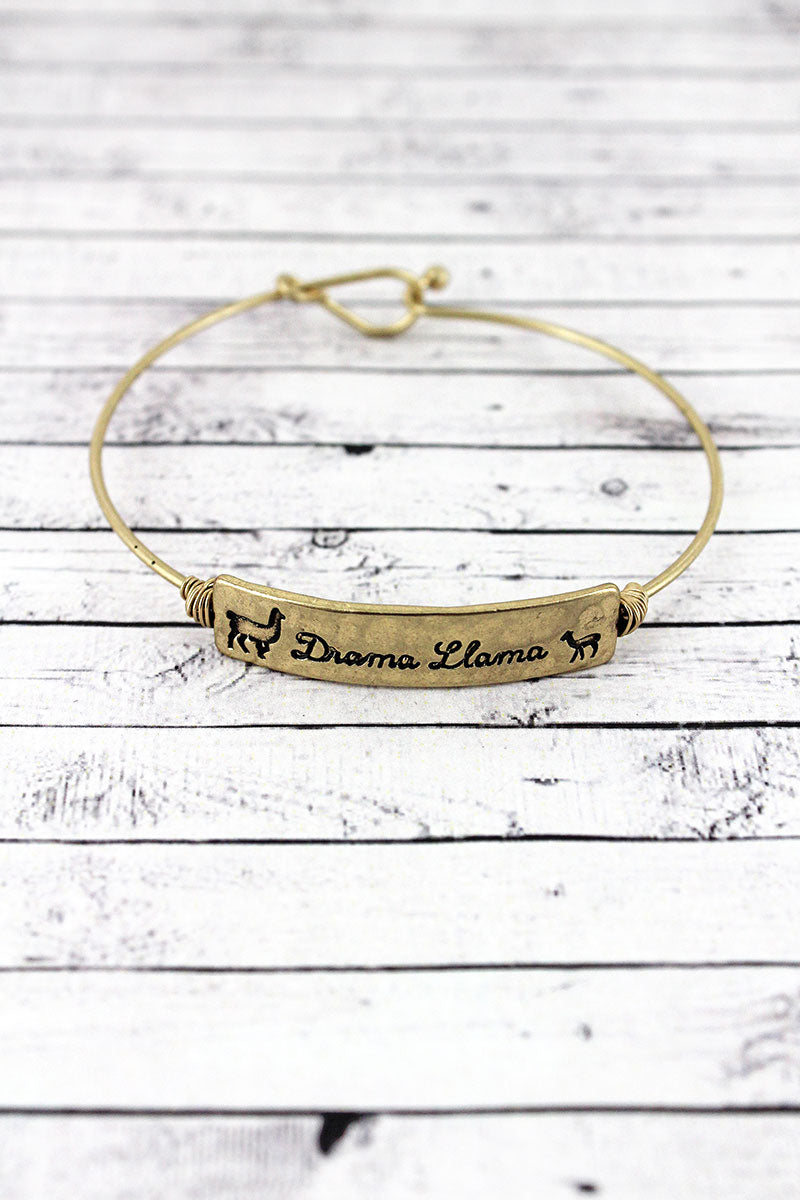Crave Goldtone Wire-Wrapped 'Drama Llama' Bar Bangle