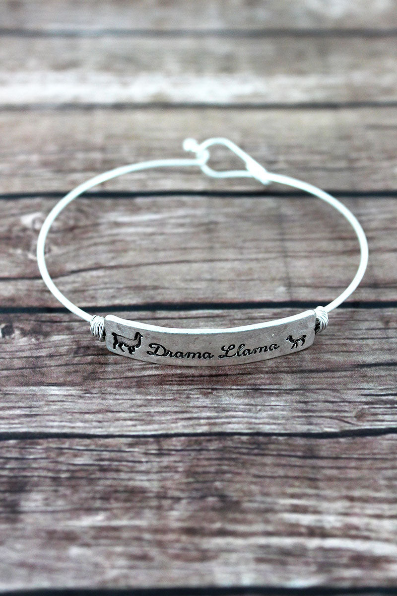 Crave Silvertone Wire-Wrapped 'Drama Llama' Bar Bangle
