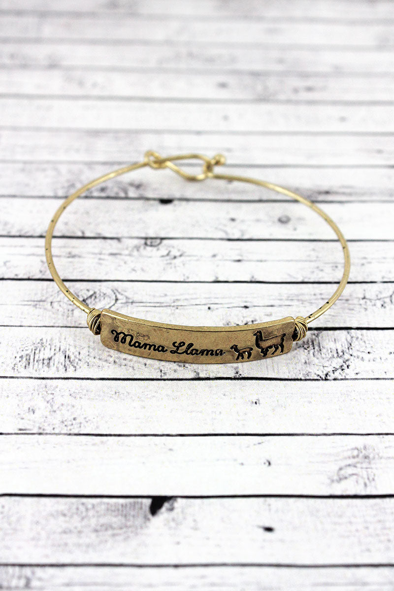 Crave Goldtone Wire-Wrapped 'Mama Llama' Bar Bangle