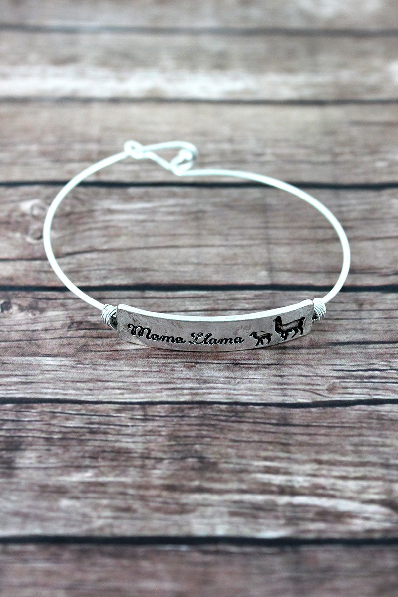 Crave Silvertone Wire-Wrapped 'Mama Llama' Bar Bangle