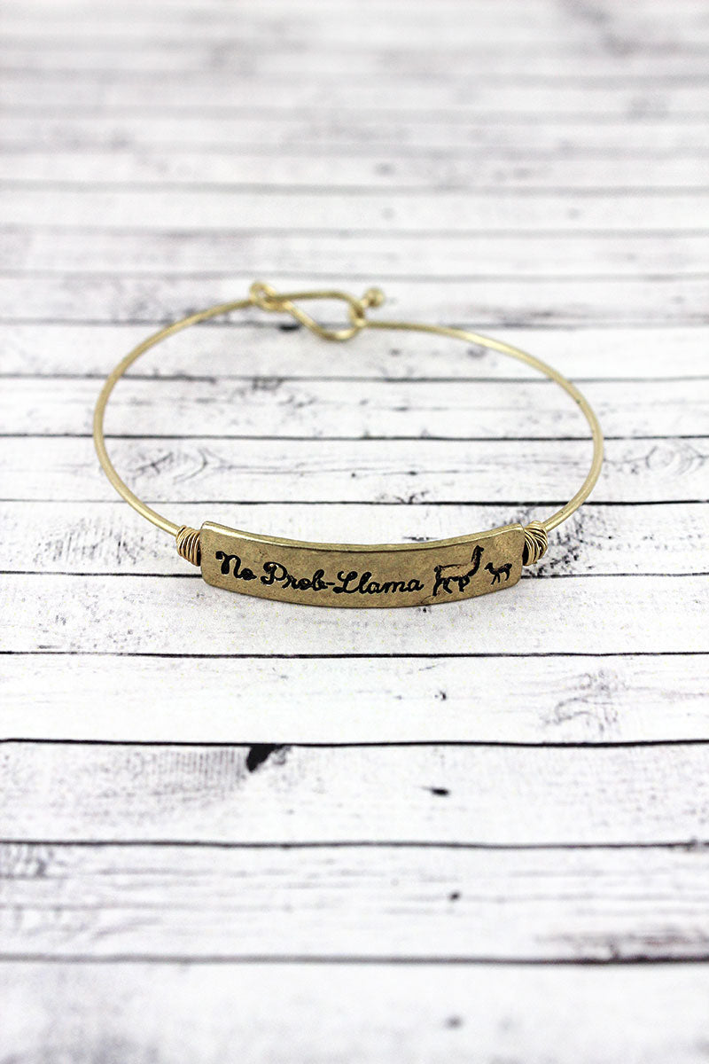 Crave Goldtone Wire-Wrapped 'No Prob-Llama Bar Bangle