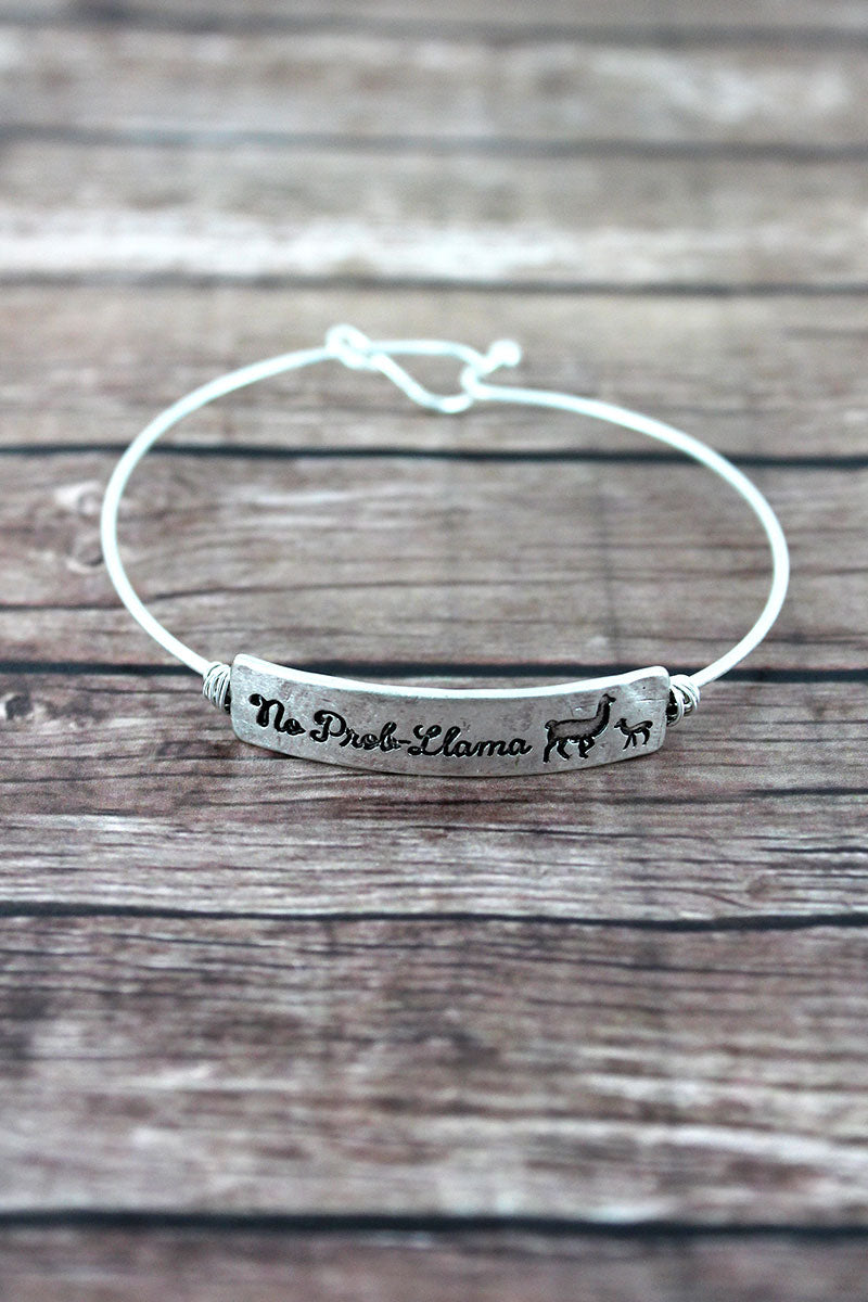 Crave Silvertone Wire-Wrapped 'No Prob-Llama' Bar Bangle