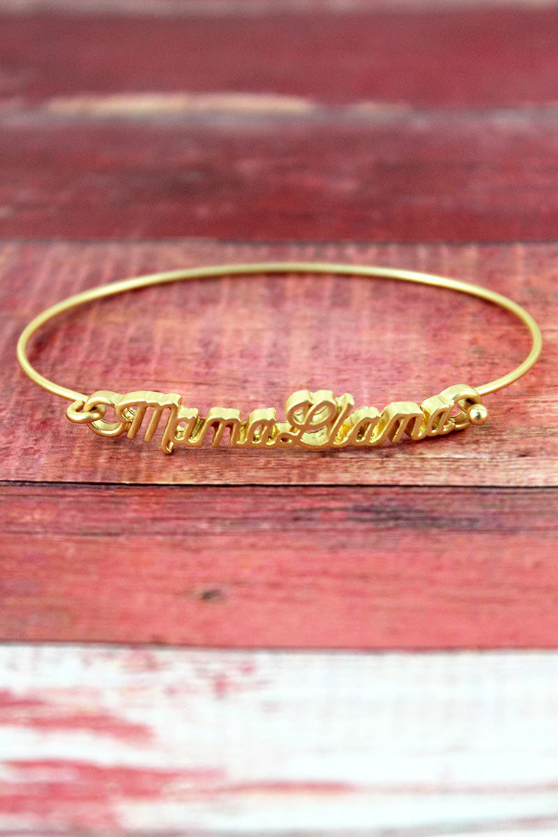 Crave Goldtone Mama Llama Script Bangle