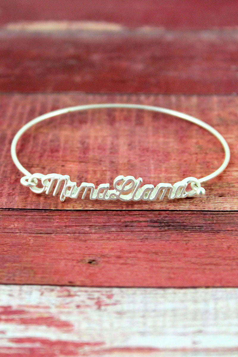 Crave Silvertone Mama Llama Script Bangle