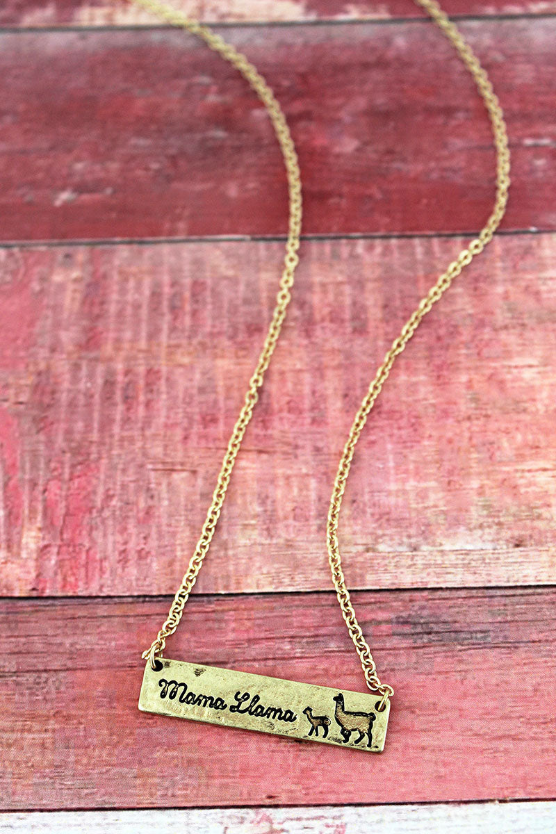 Crave Goldtone 'Mama Llama' Bar Necklace