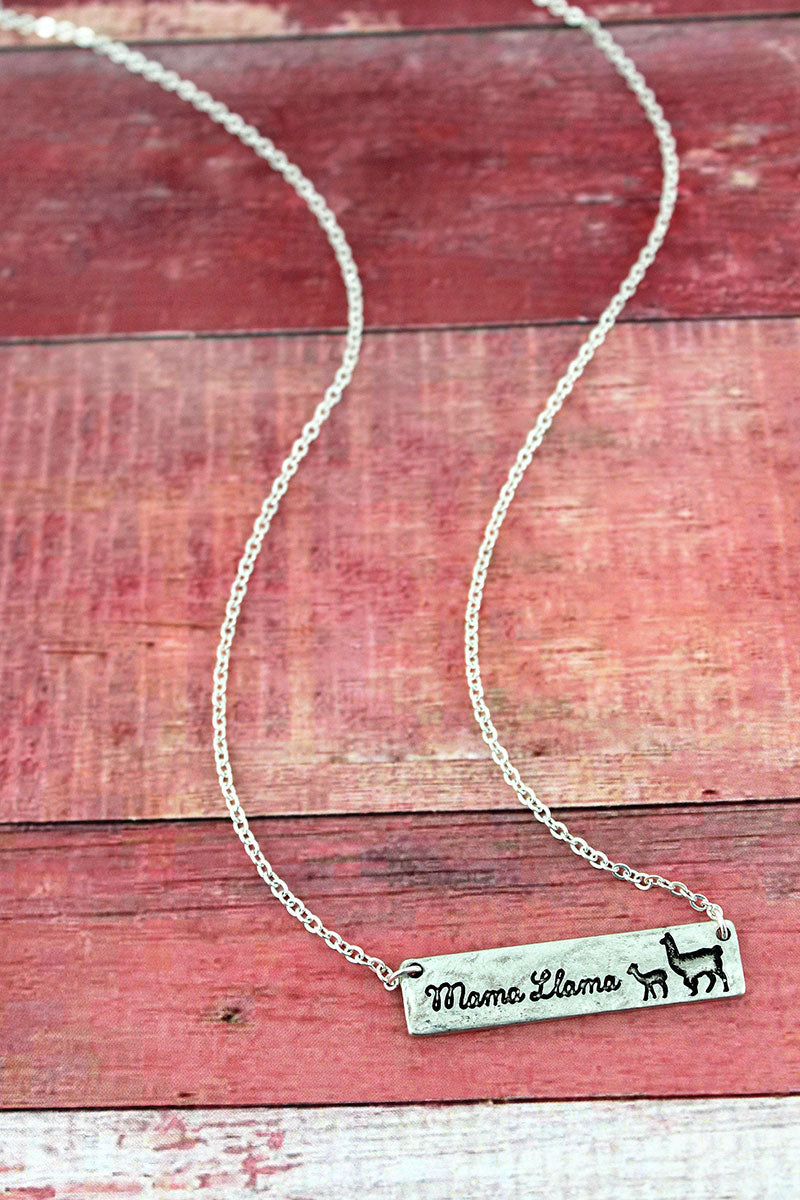 Crave Silvertone 'Mama Llama' Bar Necklace