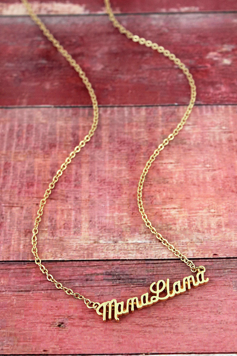 Crave Goldtone Mama Llama Script Necklace