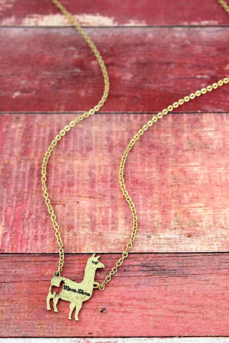 Crave Goldtone Mama Llama Necklace