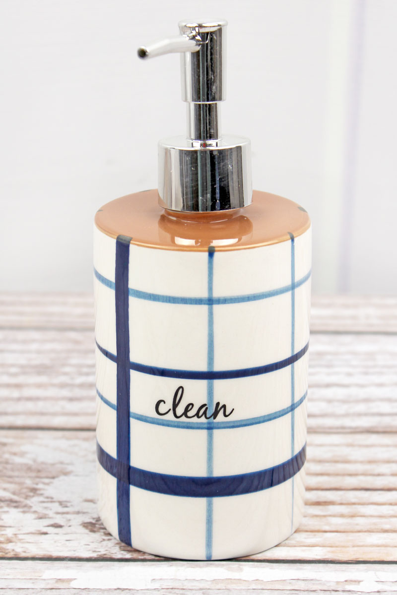 Ceramic Blue and White Grid 'Clean' Soap Dispenser, 7.25""