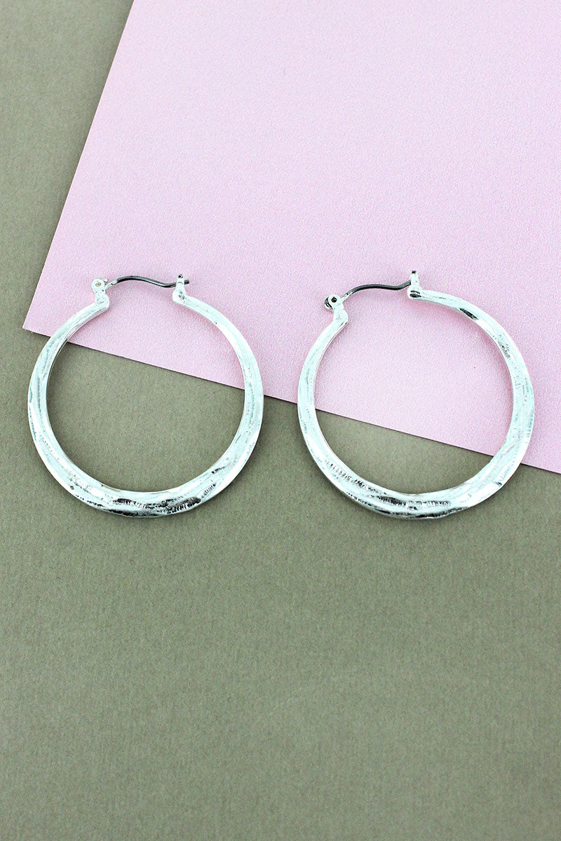 Crave Hammered Silvertone Hoop Earrings, 1.5""