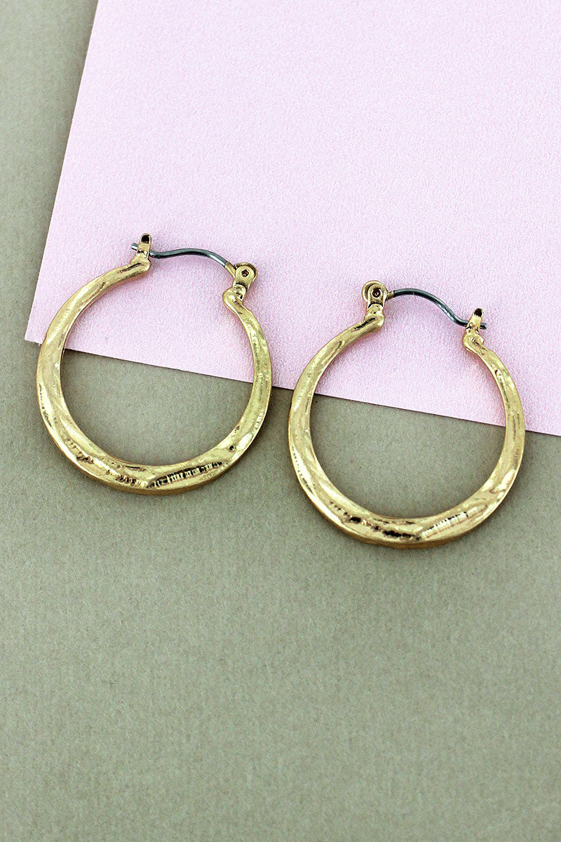 Crave Hammered Goldtone Hoop Earrings, 1""