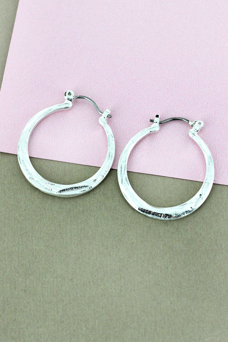 Crave Hammered Silvertone Hoop Earrings, 1""