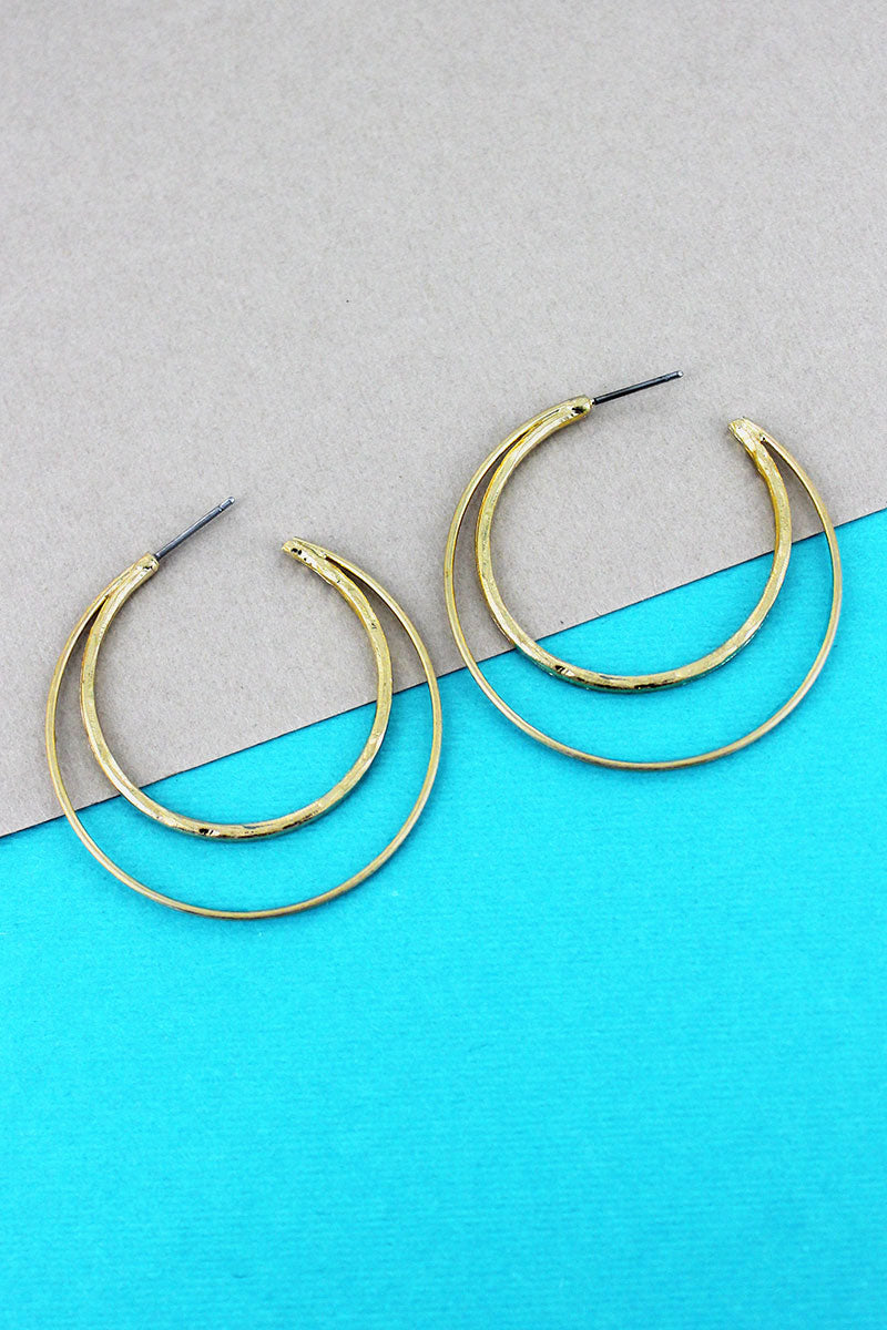 Crave Goldtone Double Crescent Hoop Earrings