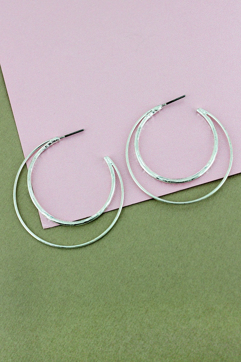 Crave Silvertone Double Crescent Hoop Earrings