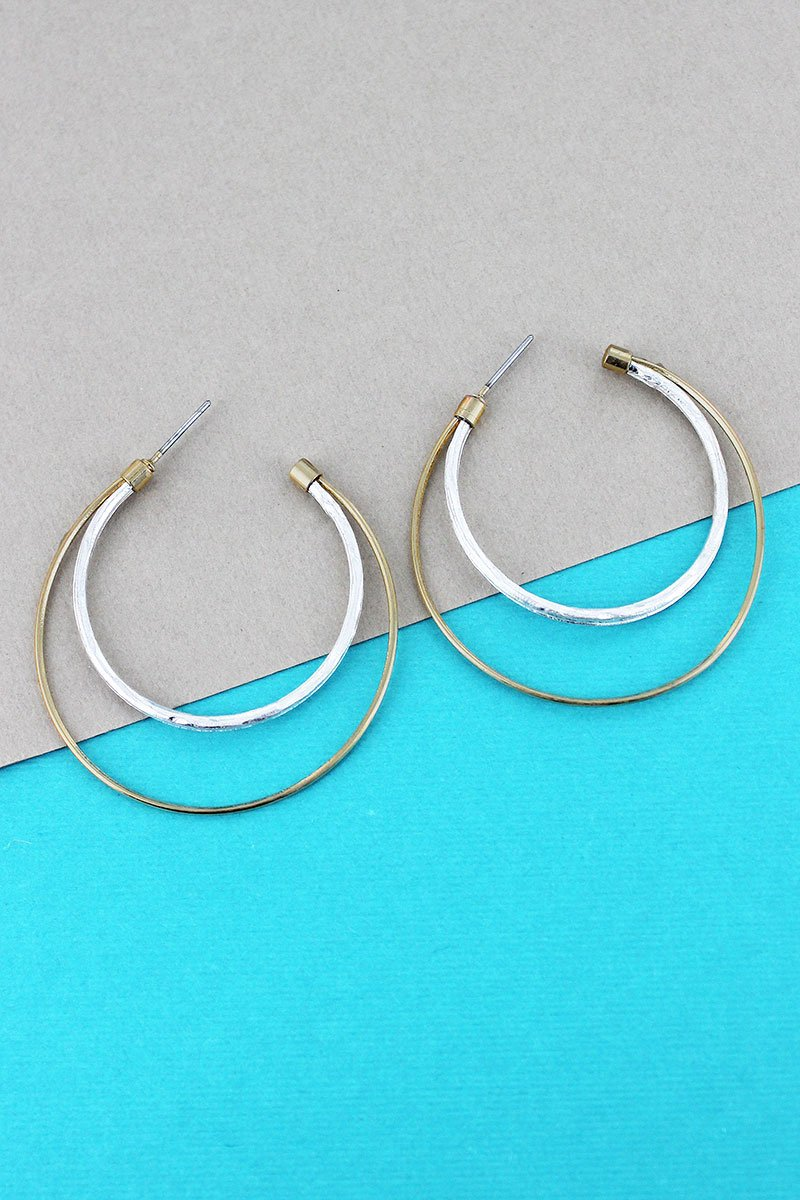 Crave Two-Tone Double Crescent Hoop Earrings