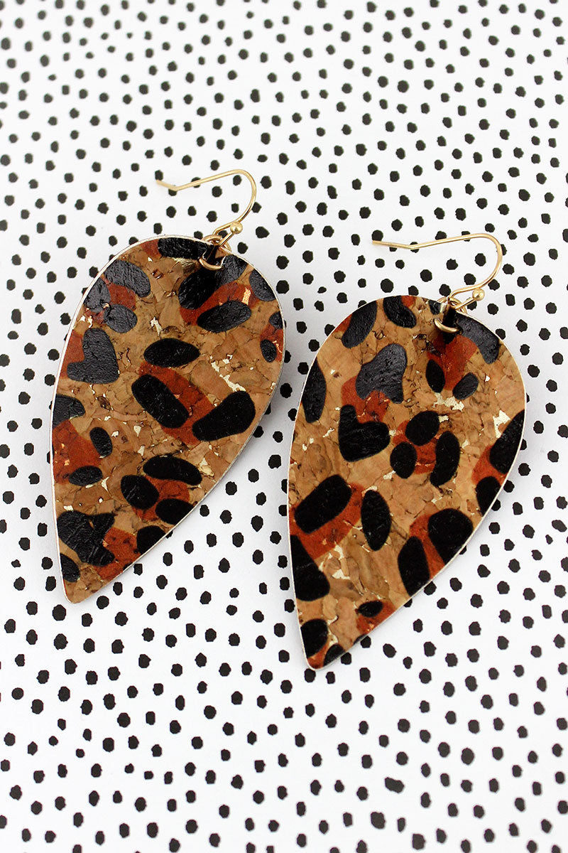 Crave Leopard Cork Leaf Earrings